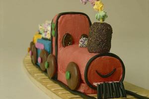 "Original train cake from the ""Children's Birthday Cake Book"""